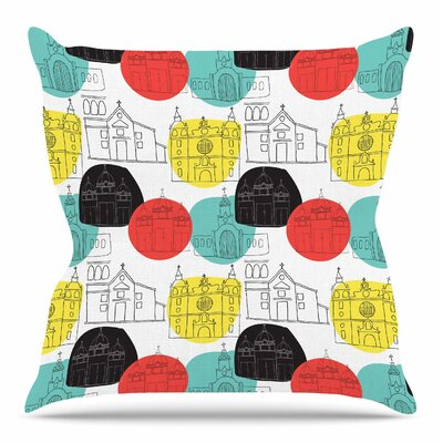 Cartagena Churches by MaJoBV Throw Pillow Size: 18 H x 18 W