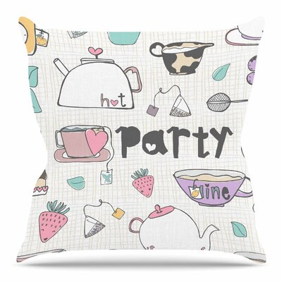 Tea Party by MaJoBV Throw Pillow Size: 18 H x 18 W