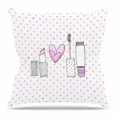 Girls Luv by MaJoBV Throw Pillow Size: 18 H x 18 W