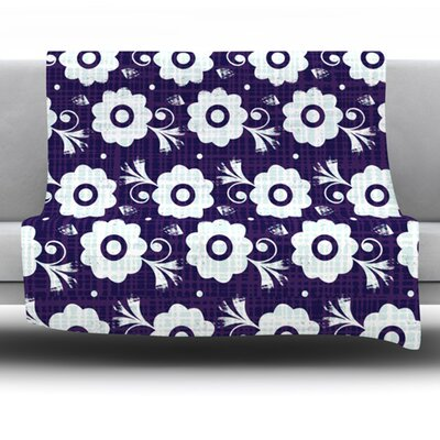 Navy Flower by Louise Machado Fleece Blanket Size: 80 L x 60 W