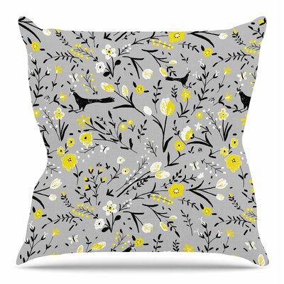 Blackbirds On Gray by Laura Nicholson Throw Pillow Size: 20 H x 20 W