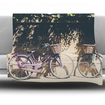 Pretty Bicycles by Laura Evans Fleece Blanket Size: 60 L x 50 W