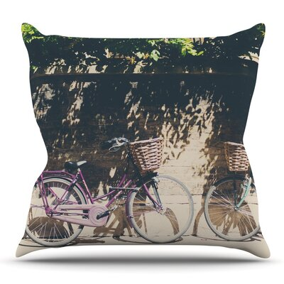 Pretty Bicycles by Laura Evans Throw Pillow Size: 26 H x 26 W