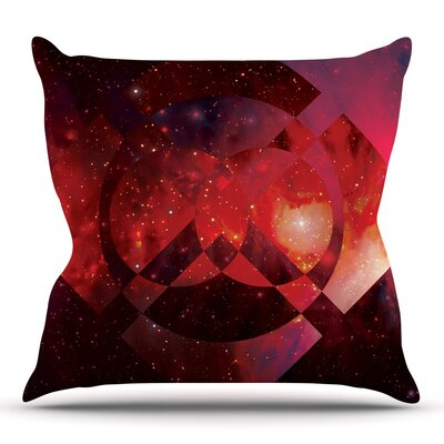 Galactic Radiance Crimson by Matt Eklund Throw Pillow Size: 18 H x 18 W