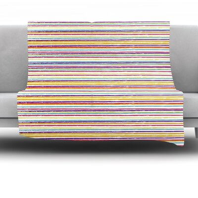 Summer Stripes by Nika Martinez Fleece Blanket Size: 60 L x 50 W