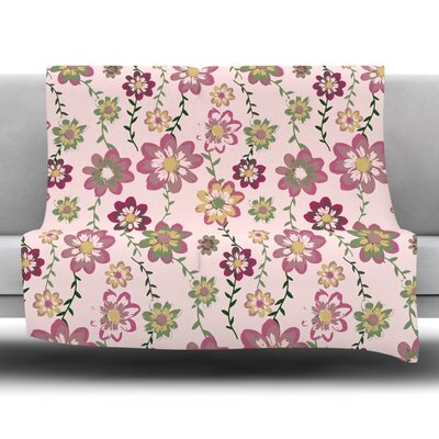 Romantic Flowers by Nika Martinez Fleece Blanket Size: 80 L x 60 W