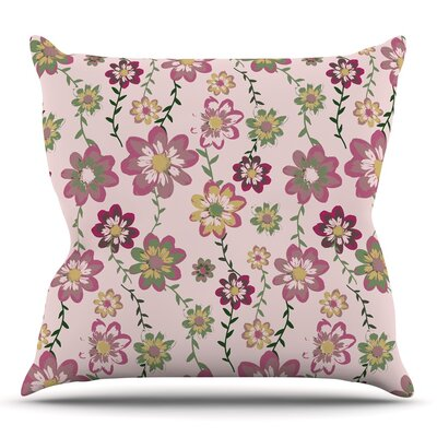 Romantic Flowers by Nika Martinez Throw Pillow Size: 18 H x 18 W