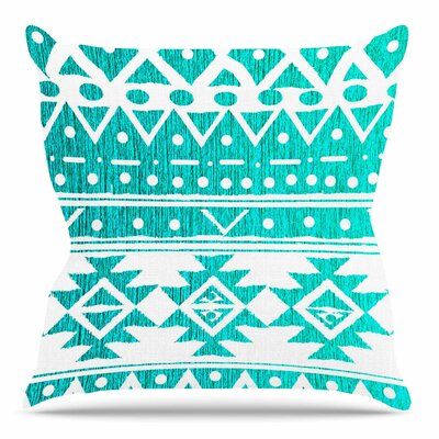 Aquamarine Tribal by Nika Martinez Throw Pillow Size: 18 H x 18 W