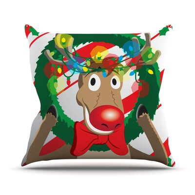 Reindeer Seasonal Throw Pillow Size: 16 H x 16 W x 3 D