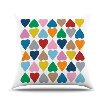 Diamond Hearts by Project M Outdoor Throw Pillow Color: Rainbow