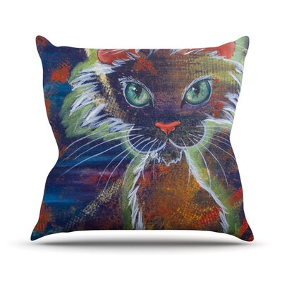 Rave Kitty Outdoor Throw Pillow