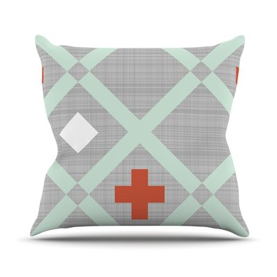 Mint Lattice Weave Outdoor Throw Pillow