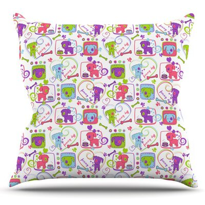 My Loving Dogs by Julia Grifol Outdoor Throw Pillow