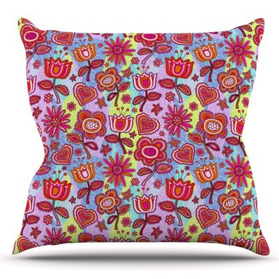My Folk Flowers by Julia Grifol Outdoor Throw Pillow