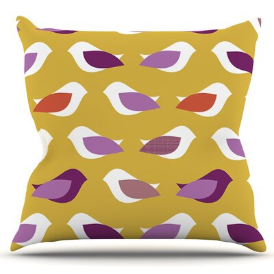 Golden Orchid Birds by Pellerina Design Outdoor Throw Pillow