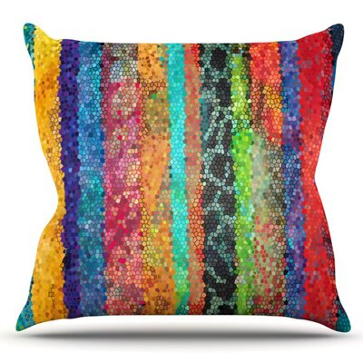 Stained Glass Batik Mosaic Stripe by Catherine Holcombe Outdoor Throw Pillow