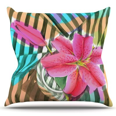 Lilly n Stripes by S. Seema Z Outdoor Throw Pillow