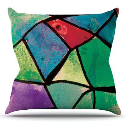 Stain Glass by Theresa Giolzetti Outdoor Throw Pillow Color: Blue/Gold