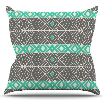 Going Tribal by Pom Graphic Design Outdoor Throw Pillow Color: Gray/Teal