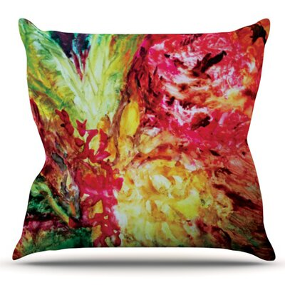 Passion Flowers by Mary Bateman Outdoor Throw Pillow Color: Red/Green
