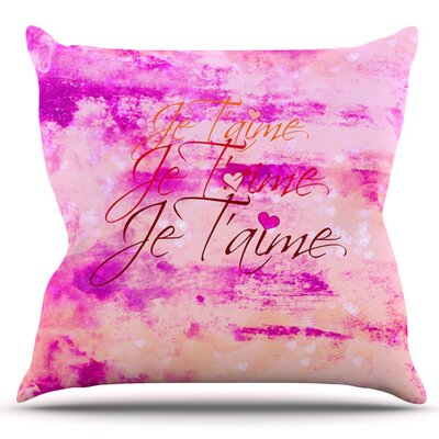 Je Taime II by Ebi Emporium Outdoor Throw Pillow Color: Abstract Pink