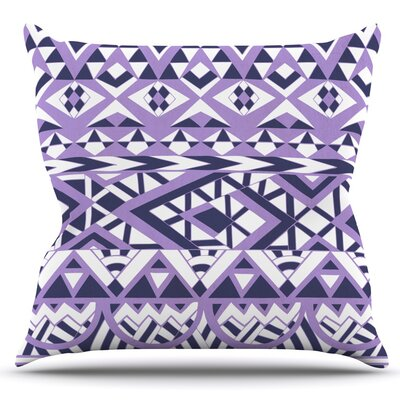 Tribal Simplicity by Pom Graphic Design Outdoor Throw Pillow Color: White/Purple
