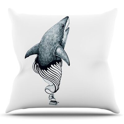 Shark Record by Graham Curran Outdoor Throw Pillow Color: Blue