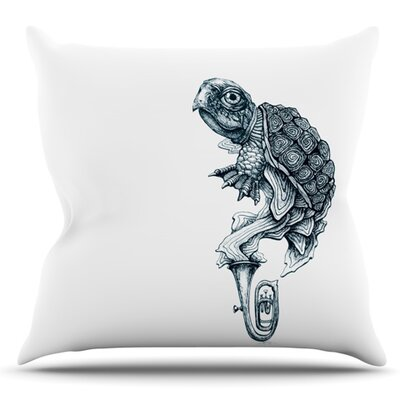 Turtle Tuba by Graham Curran Outdoor Throw Pillow Color: Teal
