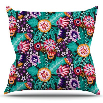 Folk Meadow by Agnes Schugardt Outdoor Throw Pillow