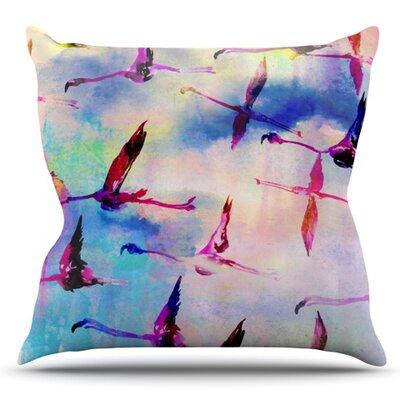 Flamingo in Flight by Nikki Strange Outdoor Throw Pillow
