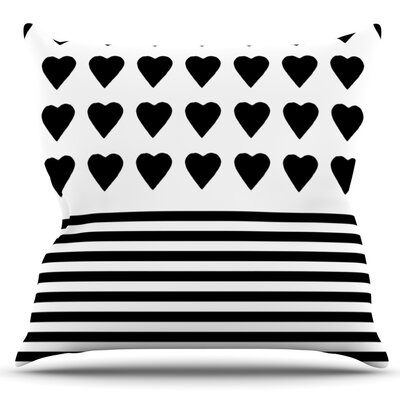 Heart Stripes by Project M Outdoor Throw Pillow Color: White/Multi
