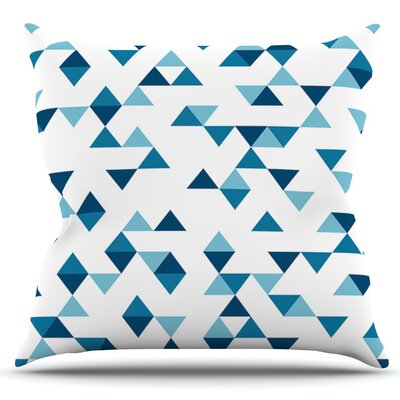 Triangles by Project M Outdoor Throw Pillow Color: White/Blue