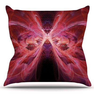 Butterfly by Alison Coxon Outdoor Throw Pillow Color: Red