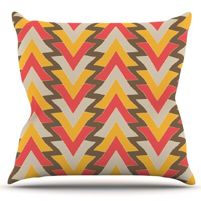 My Triangles by Julia Grifol Outdoor Throw Pillow Color: Red