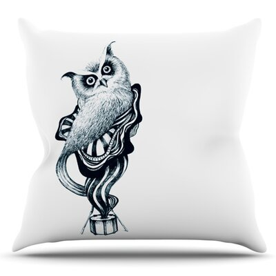 Owl by Graham Curran Outdoor Throw Pillow Color: White/Teal