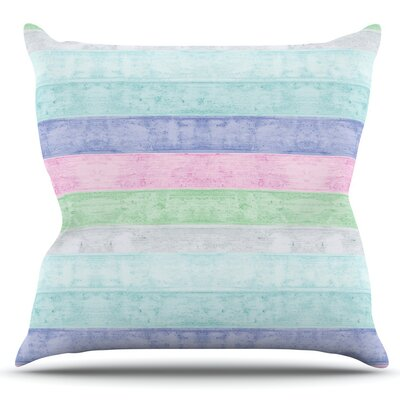 Beach Wood by Monika Strigel Outdoor Throw Pillow Color: Blue