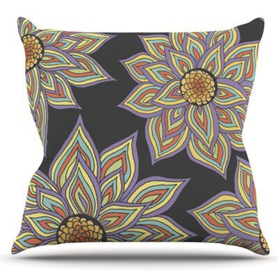 Floral Rhythm by Pom Graphic Design Outdoor Throw Pillow Color: Black