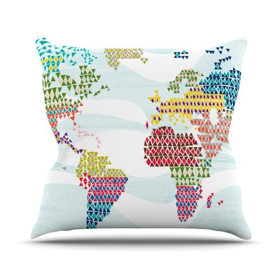 Geo Map by Agnes Schugardt Outdoor Throw Pillow