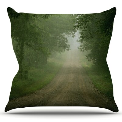 Foggy Road by Angie Turner Outdoor Throw Pillow