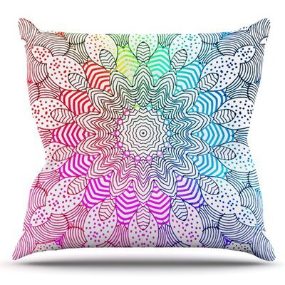 Rainbow Dots by Monika Strigel Outdoor Throw Pillow