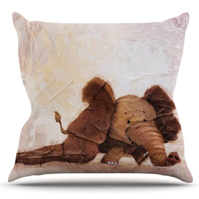 The Elephant with the Long Ears by Rachel Kokko Outdoor Throw Pillow