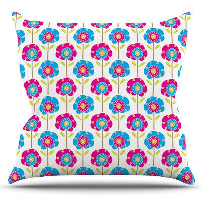 Lolly Flowers by Apple Kaur Designs Outdoor Throw Pillow