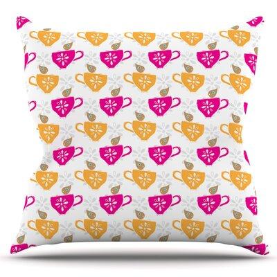 Tea-Birds by Apple Kaur Designs Outdoor Throw Pillow