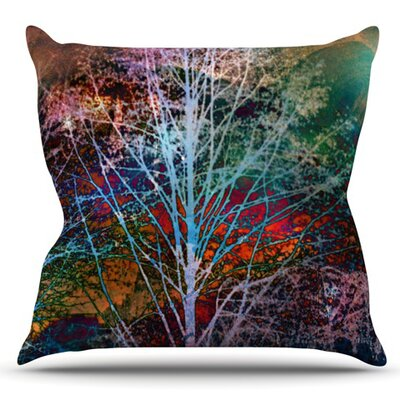 Trees in the Night by Sylvia Cook Outdoor Throw Pillow