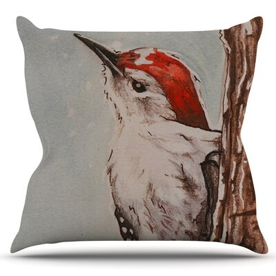 Downy Woodpecker by Brittany Guarino Outdoor Throw Pillow