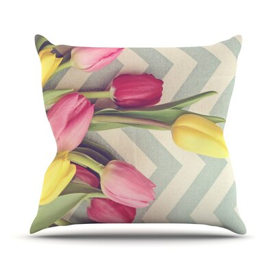 Tulips and Chevrons Outdoor Throw Pillow