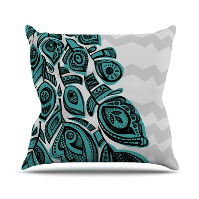 Peacock Outdoor Throw Pillow Color: Blue
