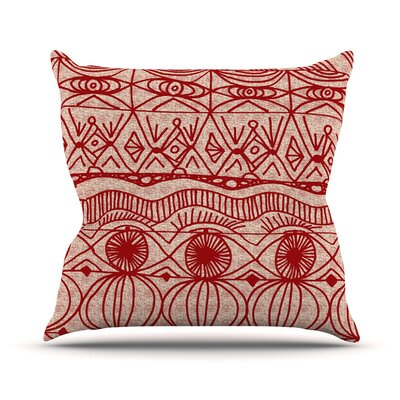 Outdoor Throw Pillow Color: Cranberry and Cream