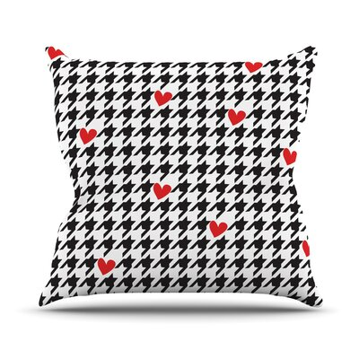 Spacey Houndstooth Heart Outdoor Throw Pillow