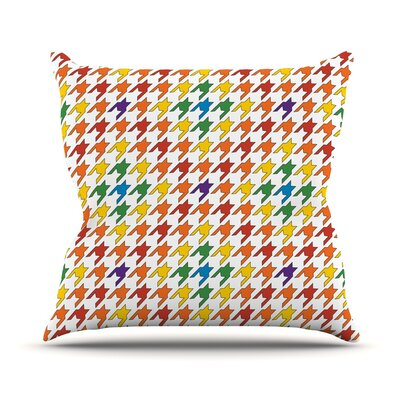 Rainbow Houndstooth Outdoor Throw Pillow